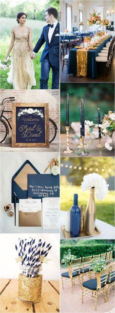 Navy blue and gold wedding color ideas / www.deerpearlflow… - Navy blue and gold wedding color ideas / www. Navy Blue And Gold Wedding, Gold Wedding Colors, Gold Wedding Theme, Purple Wedding, Wedding Color Schemes, Wedding Themes, Wedding Table, Wedding Flowers, Dream Wedding