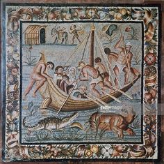 Roman mosaic of a ferry-boat on the Nile from Pompeii, 2nd century