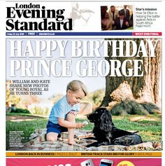 Elliot Wagland (@elliotwagland) on Twitter:  Happy Birthday Prince George on the cover of the London Evening Standard, July 22, 2016 with a photo of George and Lupo