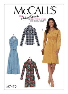 McCall's sewing pattern by Palmer/Pletsch. M7470 Misses' Button-Down Shirt and Shirtdresses with Belt