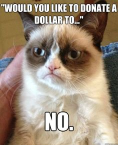 Grumpy Cat goes to the supermarket~ Would you like to donate a dollar to ....NO.
