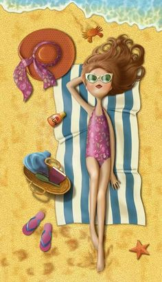 beach by quenalbertini -  enjoying the sun, illustration by Nina De San-via facebook...