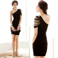 Vogued Womens One-shoulder Tassel Draped Cocktail Party Sexy Mini Dress 3 Colors