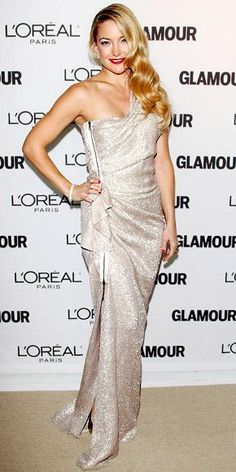 Who made Kate Hudson's gold pumps, jewelry, and one shoulder dress that she wore to the 2010 Glamour Women of the Year Awards in New York? Dress – Lanvin  Jewelry – Cartier  Shoes – Brian Atwood