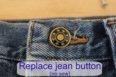 Replace a jean button - no sew (easy!!) - Momcrieff