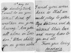 Letter from Anastasia to her cousin Lord Louis Mountbatten