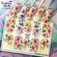Tropical nail decals Floral nail water transfer Pink nail stickers Yellow nail wraps 3 d nail slider Nail art Bright Nails, Yellow Nails, Green Nails, Pink Nails, 3d Nail Art, Nail Art Photos, Art 3d, Wall Photos, Tulip Nails