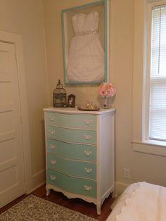 Teal Ombré dresser and wedding dress shadow box