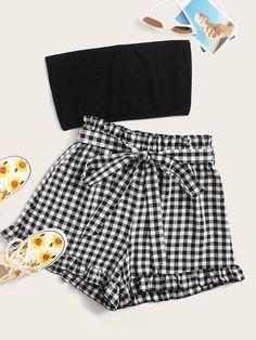 Crop Tube Top & Paperbag Waist Belted Gingham Shorts SetCheck out this Crop Tube Top & Paperbag Waist Belted Gingham Shorts Set on Romwe and explore more to meet your fashion needs! Girls Fashion Clothes, Teen Fashion Outfits, Girly Outfits, Cute Casual Outfits, Outfits For Teens, Clothes For Women, Women's Clothes, Crop Top Outfits, Two Piece Outfit