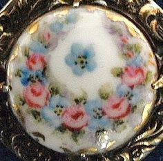 Vintage porcelain button brooch hand painted by TheLadyatSkiers