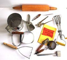 Vintage Kitchen Utensils Lot Kitchenware Egg Beater Gadgets Rolling Pin Old Wood