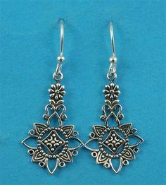 £25.00 incl tax  Sterling silver flower design drop earrings.  Approx 3.8cm long. Silver Flowers, Kissing, Gate, Drop Earrings, Sterling Silver, Bracelets, Jewelry, Design, Jewlery