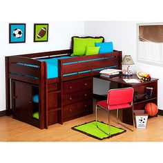 Canwood Whistler Storage Loft Bed With Desk Bundle, Cherry