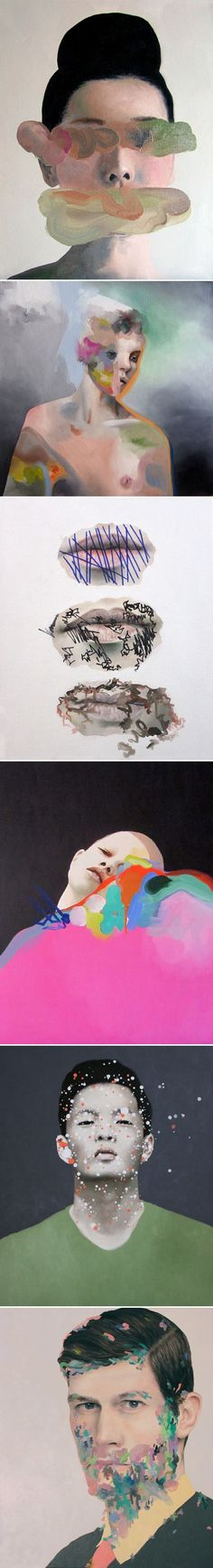 Andrea Castro imperfections forms colours shades pattern bright liquid human #OilPaintingPeople