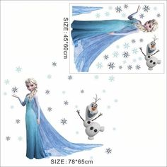 Home Decor Cartoon Olaf Elsa Anna Princess Frozen Wall Stickers Home Decoration Growth Chart For Kids Height Measure Anime Wall Art Decals Up-To-Date Styling