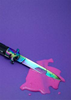 Nicole L Thomas   Knife   Pink Slim   Ooze Strawberry Milkshake Cyberpunk Seapunk Pastel Goth