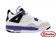 Nike Girls Air Jordan 4 Retro GS  White Ultra Violet  (487724-108)