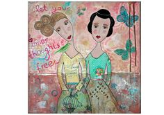 Print - Art Print - Giclee Art Print - Giclee print - whimsical painting - portrait woman - bird - birdcage - figurative friendship friends - pinned by pin4etsy.com