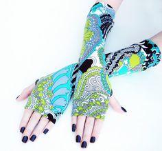 Lachrimae  Arm warmers fingerless gloves blue green by Mellode, $28.00