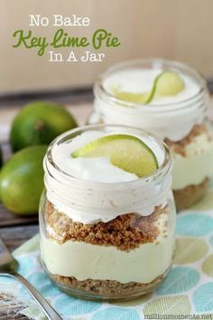 Easy no bake key lime pie recipe. Dessert | desserts | easy recipe | summer recipe | fresh food | tasty dessert | mason jar recipe | crust