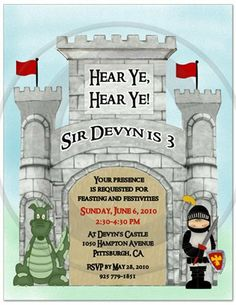 Knight Castle Birthday Party Invitations - Set of 20 by Bless Express. $18.00. From BlessExpress.com Transform your child's birthday into a medieval adventure. Create a knights party with these royal knight party invitations. If your birthday boy is a knight at heart, then he would love knight party invitations! Your choice of wording.