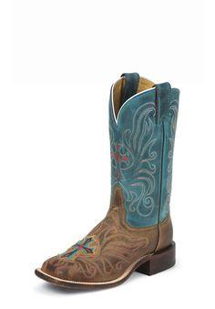 "women's square toe cross boots | Tony Lama Women's San Saba 11"" Tan Vintage Cow Square Toe Boots"