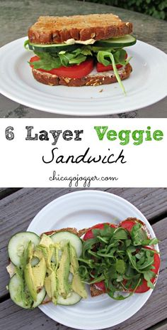 6-Layer Veggie Sandwich - a vegetarian sandwich that is perfect for a hot summer day! No cooking required. | chicagojogger.com