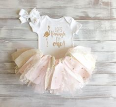 Pink and Gold Baby Girl 1st Birthday Tutu Set! Flamingo Tropical 1st Birthday Tutu, Bodysuit, and Bow Set featuring lace and iridescent gold sequin fabric!