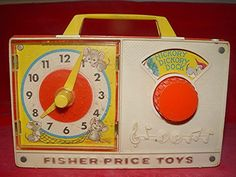 1964 Hickory Dickory Dock Fisher Price Toy Radio. I used to play with it and now Sawyer does :) I had no idea it was from 1964!