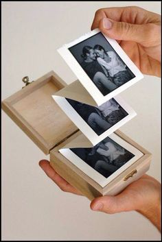 Album in a box. DIY a simple, but beautiful handmade photo album in a wooden box. A great crafty how to for gifts. Diy And Crafts, Arts And Crafts, Paper Crafts, Wooden Crafts, Easy Crafts, Picture Boxes, Picture Gifts, Photo Gifts, Album Photo