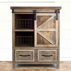 Shop Rustic Wood Barn Door Cabinet with Wire Baskets and Drawers by Melrose International : Furniture Pieces Barn Door Cabinet, Wood Barn Door, Barn Doors, Farmhouse Cabinets, Wooden Cabinets, Rustic Wood, Rustic Decor, Rustic Charm, Vintage Industrial Furniture