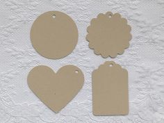 25 TAN Heart Scalloped Circle Hang Tag Shape Cardstock Paper Gift Tags by PorcupineSpines