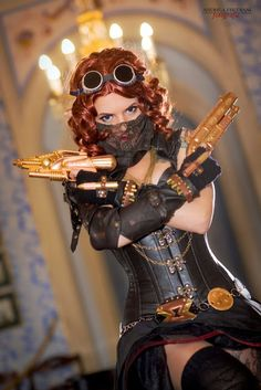 Steampunk Black Widow Cosplay (marvel comics)  - For costume tutorials, clothing guide, fashion inspiration photo gallery, calendar of Steampunk events, & more, visit SteampunkFashionGuide.com