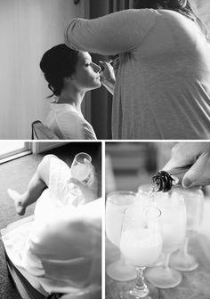gorgeous bride getting ready with champagne
