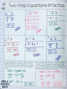 Solving Equations INB Pages Two-Step Equations Practice for algebra interactive notebooks Two Step Equations, Algebra Equations, Solving Equations, Maths Algebra, Math Fractions, Algebra Activities, Math Math, Algebra Interactive Notebooks, Math Notebooks