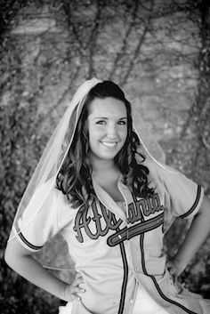 Bridal Portrait - Baseball Jersey Atlanta Braves (had to do this for my husband!)