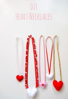 DIY Felt Heart Necklaces.  A great first sewing project to work on with kids || Marino Bambinos