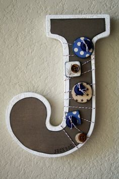 Boys Nursery Wall Letter or Shelf Monogram by LolaMonkey on Etsy, Framed Letters, Wooden Letters, Letters And Numbers, Nursery Letters, Monogram Letters, Alphabet Crafts, Letter A Crafts, Letter J, Letter Wall