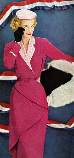 Look at this tailoring! Nice to see some Balmain without the linebacker shoulders, sequins, and obligatory hipster ironic rips everywhere.Sunny Harnett in Pierre Balmain 1951 <3