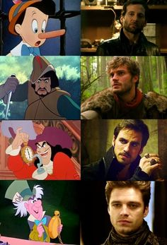 Pinocchio/August, The Huntsman/Graham, Captain Hook, and The Mad Hatter/Jefferson all total hot guys