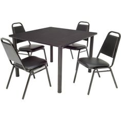 Regency 5-Piece 42 inch Square Table with Black Post Legs with 4 Stackable Chairs, Assorted