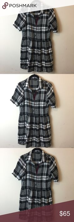 THML Black White Plaid Shirt Dress THML Dress white and black plaid and button down front with a skater bottom and is not lined! THML Dresses