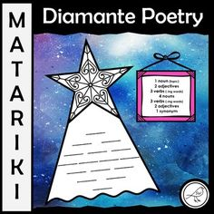 Celebrate the Māori New Year with this fun poetry writing activity. The Diamante Poem looks at nouns, verbs, adjectives and synonyms so it is the perfect writing activity to compliment your word work programme. There are two different frameworks included in this resource. Writing Resources, School Resources, Classroom Resources, Writing Activities, Classroom Ideas, Poetry For Kids, Art For Kids, Diamante Poem, Cinquain Poems