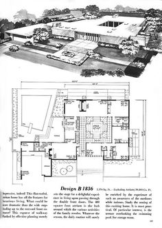 Vintage House Plans, Mid Century Homes, Homes almost perfect put laundry room in place or stairs Vintage House Plans, Modern House Plans, House Floor Plans, Casa Retro, Retro Rv, Haus Am See, Mcm House, Vintage Architecture, Courtyard House