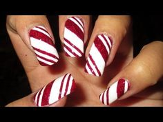 Watch Candy Cane Nail Art Tutorial, a Nail Designs video on Stuffpoint. This was a very easy design - you can use whatever kind of tape you have handy, you don't need the blue painter's tape I use =) Nail polish & tools used: Zoy. Striped Nails, Blue Nails, Holiday Nails, Christmas Nails, Christmas Candy, Xmas Nails, Diy Christmas, Candy Cane Nails, Candy Canes