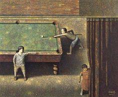 2004 PLAYING POOL, Liu Hong Wei (aka Liu Hongwei, b1965, Beijing, China)