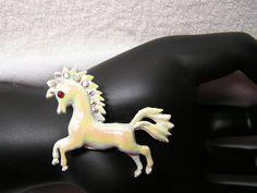VtG HORSE White Enamel Pin 1950s Rhinestones and RED eye.