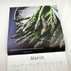All of our calendars are now 40% off! Shown here is our 2017 Mindful Eating Wall Calendar . . #asparagus #mindfuleating #eatyourvegetables #veggie #veggielife #brushdance #health #cheerfulness #mindfulliving #quotes #josephaddison #quoteoftheday #healthyliving #foodie #kitchen #forthekitchen #newyear #newyou