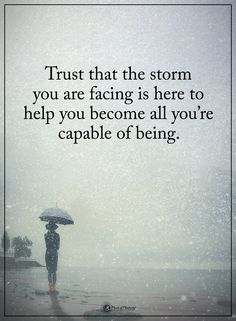 Trust that the storm you are facing is here to help you become all you're capable of being.