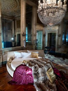Always wanted a round bed with a big ol chandelier...someday